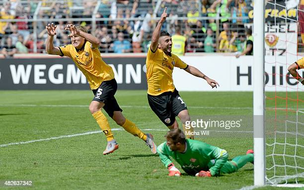 Michael Hefele of Dresden celebrates after scoring his team's first goal during the Third League match between Wuerzburger Kickers and Dynamo Dresden...