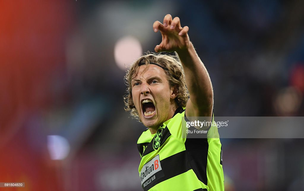 Michael Hefele of Huddersfield celebrates scoring his sides first goal during the Sky Bet Championship match between Aston Villa and Huddersfield Town at Villa Park on August 16, 2016 in Birmingham, England.