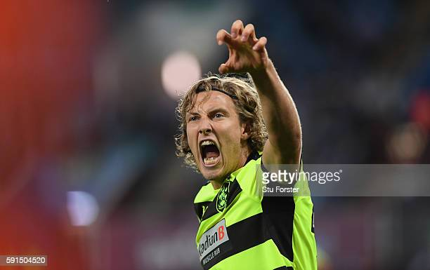 Michael Hefele of Huddersfield celebrates scoring his sides first goal during the Sky Bet Championship match between Aston Villa and Huddersfield...