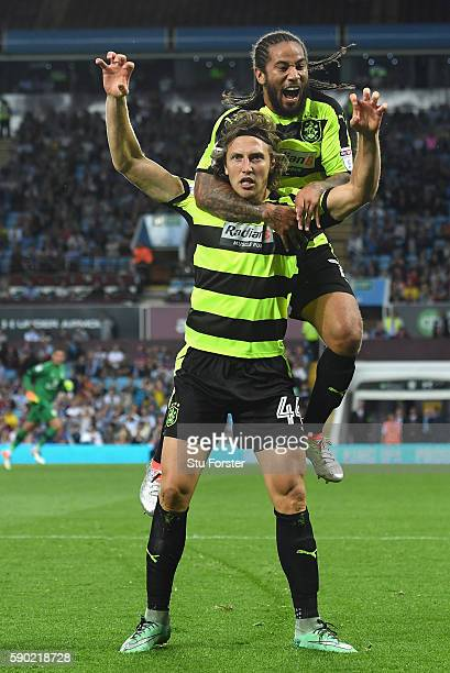 Michael Hefele of Huddersfield Town celebrates scoring his sides first goal with Sean Scannell of Huddersfield Town during the Sky Bet Championship...