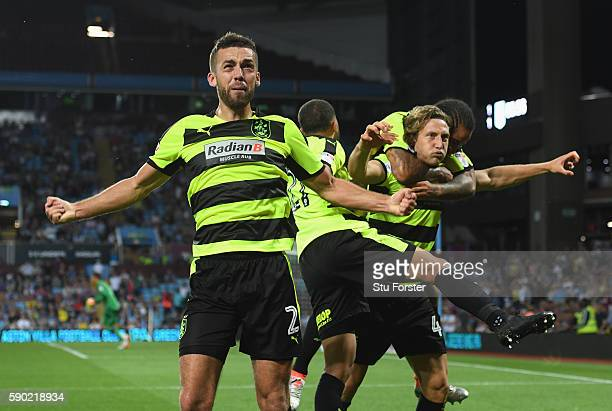 Michael Hefele of Huddersfield Town celebrates with Tommy Smith of Huddersfield Town and team mates after scoring his sides first goal during the Sky...