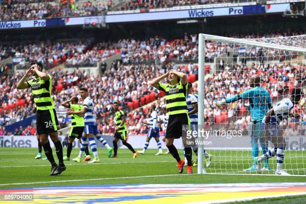 Michael Hefele of Huddersfield Town reacts to missing a chance to score during the Sky Bet Championship play off final between Huddersfield and...