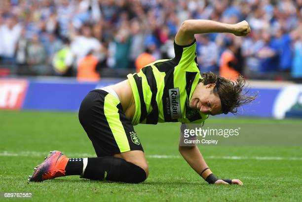 Michael Hefele of Huddersfield Town reacts to missing his sides second penalty in the penalty shoot out after the Sky Bet Championship play off final...