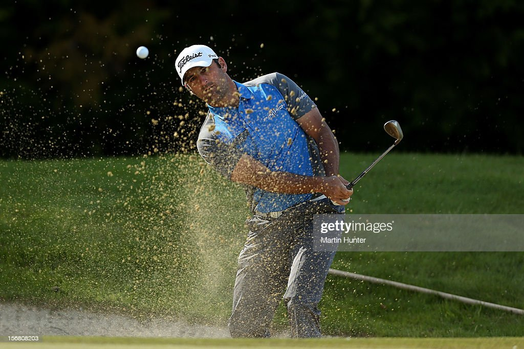 Michael Hendry of New Zealand hits a shot during day one of the New Zealand Open at Clearwater Golf Course on November 22, 2012 in Christchurch, New Zealand.