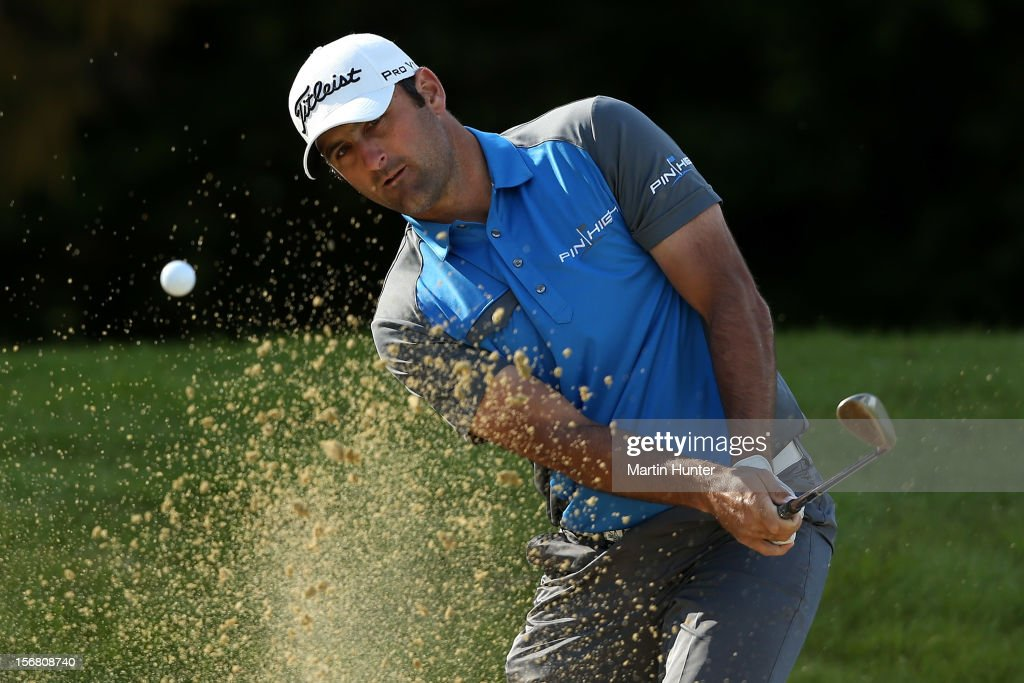 Michael Hendry of New Zealand plays a shot during day one of the New Zealand Open at Clearwater Golf Course on November 22, 2012 in Christchurch, New Zealand.