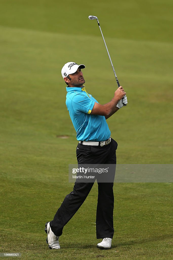 Michael Hendry of New Zealand plays a shot during day three of the New Zealand Open Championship at Clearwater Golf Course on November 24, 2012 in Christchurch, New Zealand.