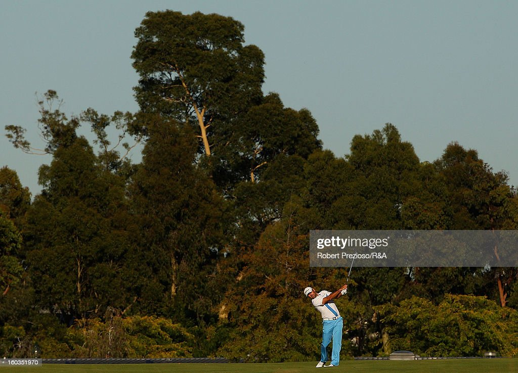 Michael Hendry of New Zealand plays a shot on the 1st hole during day two of the British Open International Final Qualifying Australasia at Kingston Heath Golf Club on January 30, 2013 in Melbourne, Australia.