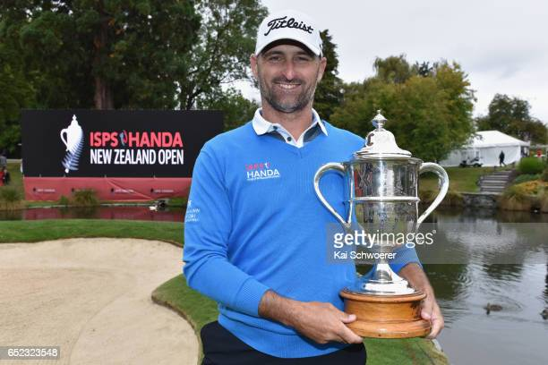 Michael Hendry of New Zealand poses with the Brodie Breeze Challenge Cup during day four of the New Zealand Open at Millbrook Resort on March 12 2017...