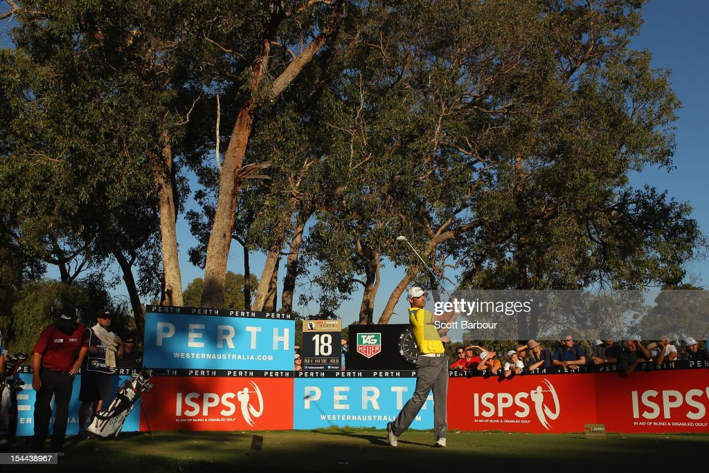 Michael Hendry of New Zealand tees off on the 18th hole during day three of the Perth International at Lake Karrinyup Country Club on October 20, 2012 in Perth, Australia.