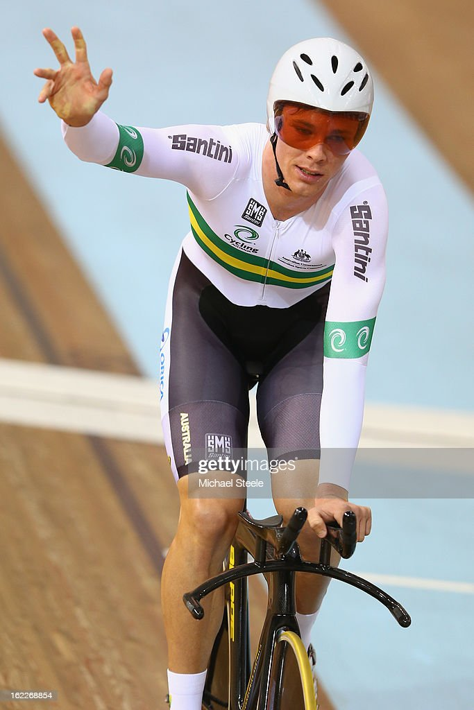 <a gi-track='captionPersonalityLinkClicked' href=/galleries/search?phrase=Michael+Hepburn&family=editorial&specificpeople=986677 ng-click='$event.stopPropagation()'>Michael Hepburn</a> of Australia celebrates winning gold in the men's individual pursuit final during day two of the UCI Track World Championships at Minsk Arena on February 21, 2013 in Minsk, Belarus.