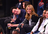 Michael Hess and Heidi Klum attend the Chicago Bulls vs New York Knicks game at Madison Square Garden on October 29 2014 in New York City