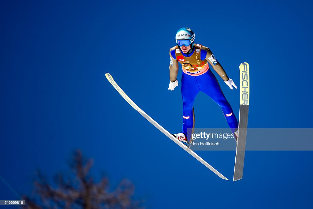 Michael Heyboeck of Austria competes in the first run of the FIS Ski Jumping World Cup at Planica on March 20 2016 in Planica Slovenia
