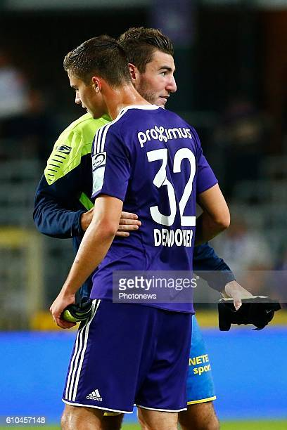 Michael Heylen defender of KVC Westerlo and Leander Dendoncker midfielder of RSC Anderlecht pictured during Jupiler Pro League match between RSC...