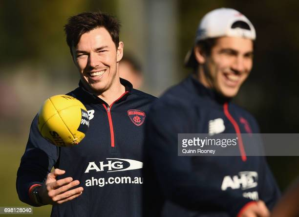Michael Hibberd and Christian Petracca of the Demons have a laugh during a Melbourne Demons AFL training session at Gosch's Paddock on June 20 2017...