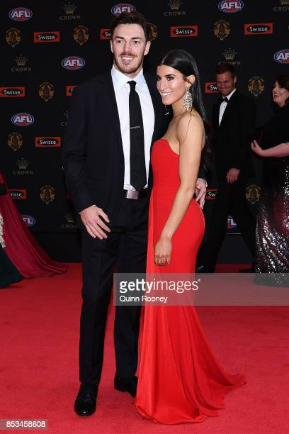 Michael Hibberd of the Demons and partner Anthea Sidiropolous arrive ahead of the 2017 Brownlow Medal at Crown Entertainment Complex on September 25...