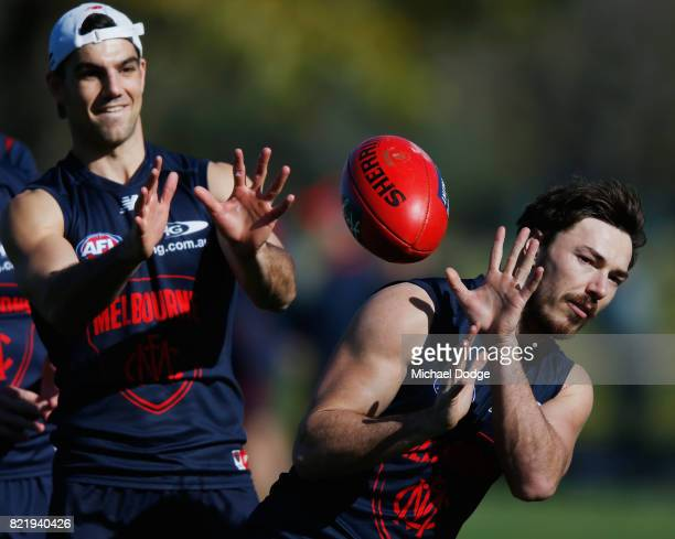 Michael Hibberd of the Demons gathers the ball during a Melbourne Demons AFL training session at Gosch's Paddock on July 25 2017 in Melbourne...