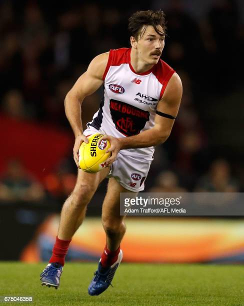Michael Hibberd of the Demons in action during the 2017 AFL round 06 match between the Essendon Bombers and the Melbourne Demons at Etihad Stadium on...