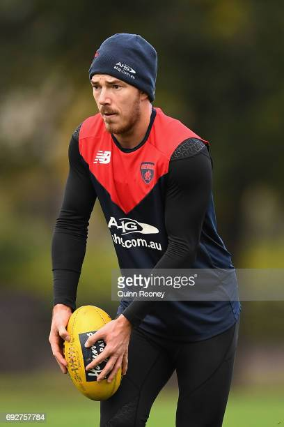 Michael Hibberd of the Demons kicks during a Melbourne Demons AFL training session at Gosch's Paddock on June 6 2017 in Melbourne Australia