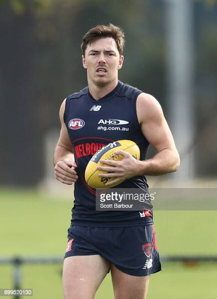 Michael Hibberd of the Demons runs with the ball during a Melbourne Demons AFL training session at Gosch's Paddock on June 22 2017 in Melbourne...