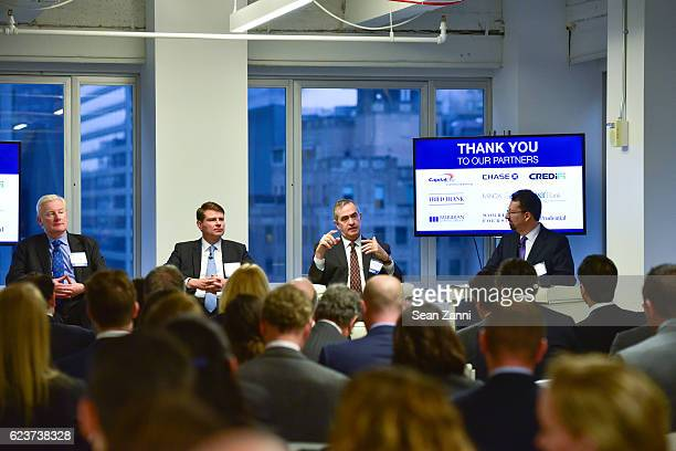 Michael Higgins Alexander Joerg Jerome Sanzo and Mark S Edelstein attend The Commercial Observer Financing Commercial Real Estate at 666 Fifth Avenue...