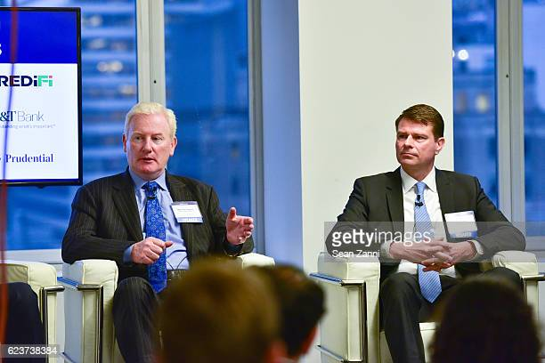 Michael Higgins and Alexander Joerg attend The Commercial Observer Financing Commercial Real Estate at 666 Fifth Avenue on November 15 2016 in New...