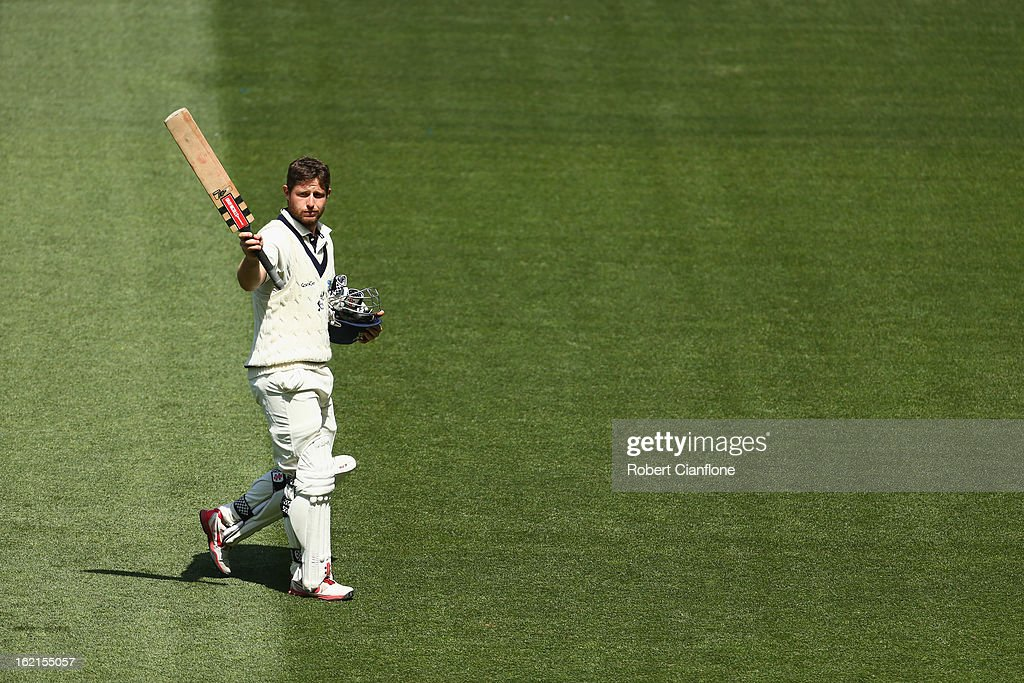 Michael Hill of the Bushrangers acknowledges the crowd as he walks from the ground after he was dismissed during day three of the Sheffield Shield match between the Victorian Bushrangers and Queensland Bulls at the Melbourne Cricket Ground on February 20, 2013 in Melbourne, Australia.