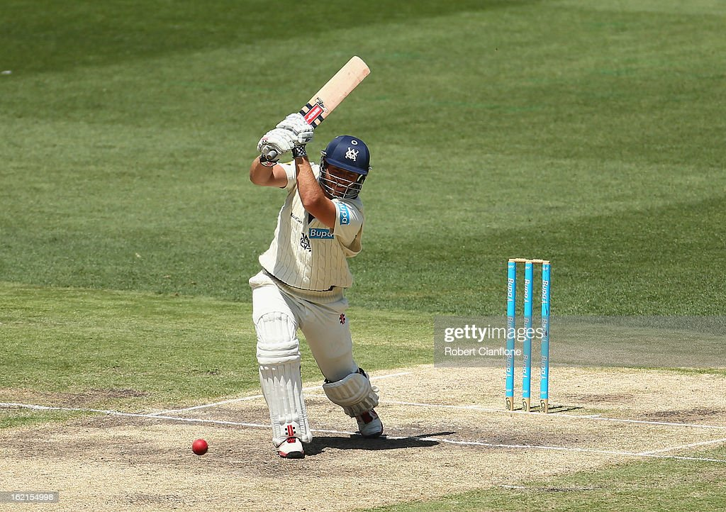 Michael Hill of the Bushrangers bats during day three of the Sheffield Shield match between the Victorian Bushrangers and Queensland Bulls at the Melbourne Cricket Ground on February 20, 2013 in Melbourne, Australia.