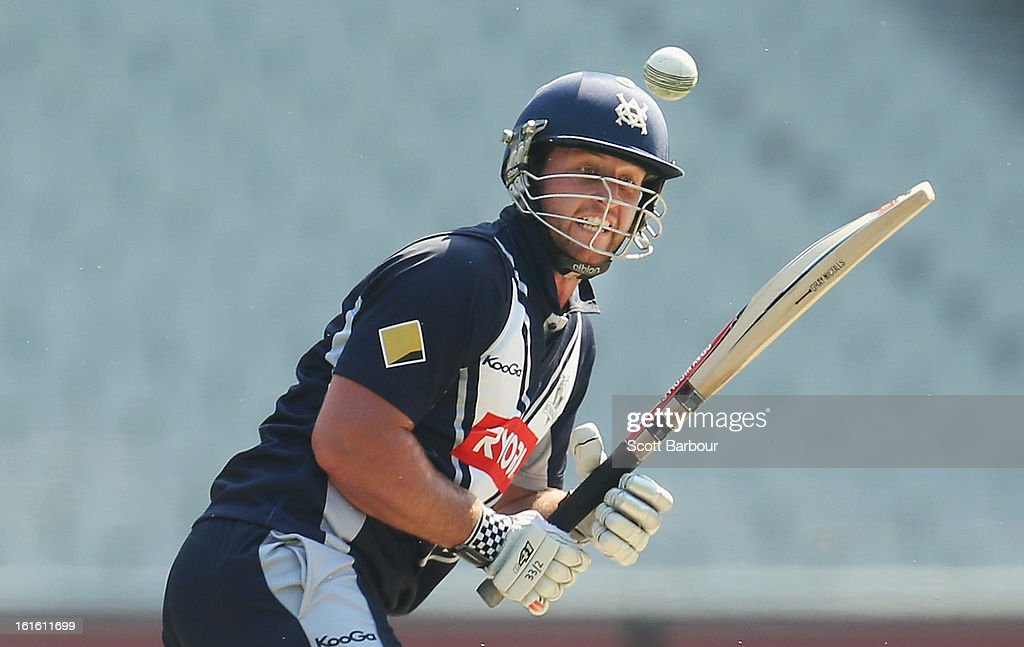 Michael Hill of Victoria bats during the international tour match between Victoria and the England Lions at the Melbourne Cricket Ground on February 13, 2013 in Melbourne, Australia.