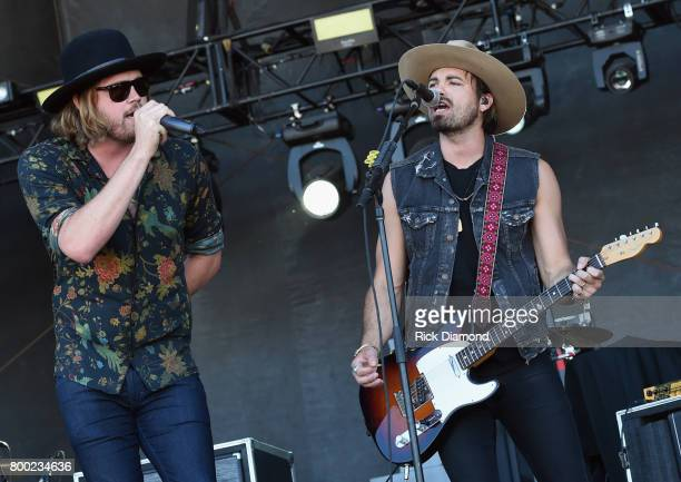 Michael Hobby and Zach Brown of A Thousand Horses perform during Kicker Country Stampede Day 2 at Tuttle Creek State Park on June 23 2017 in...