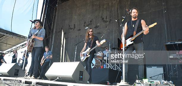Michael Hobby Bill Satcher Graham DeLoach and Zach Brown of A Thousand Horses perform during the ACM Party for a Cause Festival at the Las Vegas...