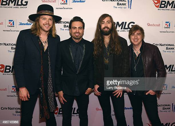 Michael Hobby Zach Brown Graham Deloach and Bill Satcher of musical group A Thousand Horses attend as Big Machine Label Group celebrates The 49th...