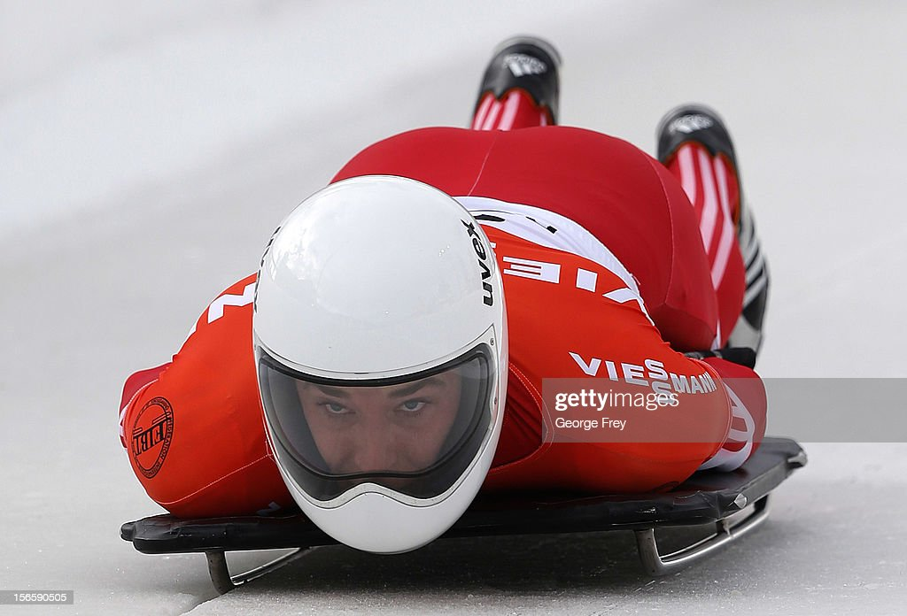 Michael Hoefer of Switzerland competes in the FIBT Men's Skeleton World Cup heat 1 on November 17, 2012 at Utah Olympic Park in Park City, Utah.