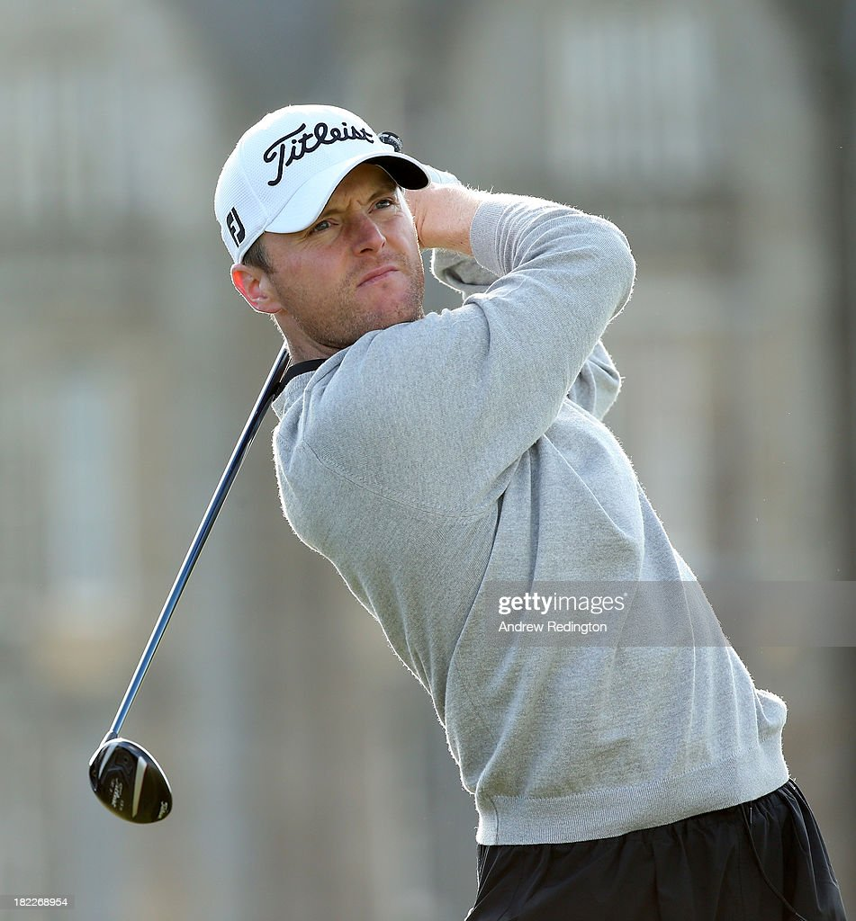Michael Hoey of Northern Ireland drives off the second tee during the final round of the Alfred Dunhill Links Championship on The Old Course, at St Andrews on September 29, 2013 in St Andrews, Scotland.