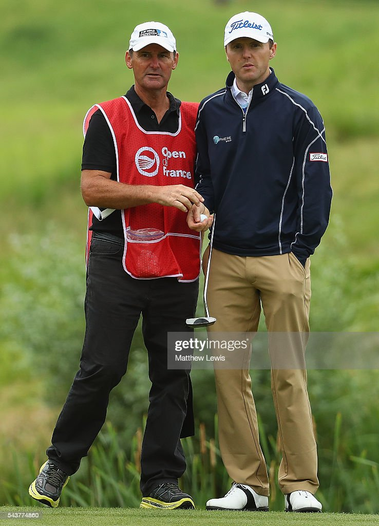 <a gi-track='captionPersonalityLinkClicked' href=/galleries/search?phrase=Michael+Hoey&family=editorial&specificpeople=600560 ng-click='$event.stopPropagation()'>Michael Hoey</a> of Northern Ireland looks on with his caddie day one of the 100th Open de France at Le Golf National on June 30, 2016 in Paris, France.