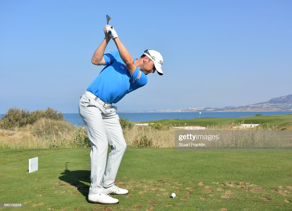Michael Hoey of Northern Ireland plays a shot on the seventh hole during the second round of The Rocco Forte Open at The Verdura Golf and Spa Resort on May 19, 2017 in Sciacca, Italy.