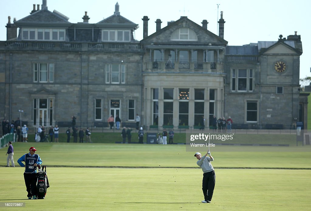 Michael Hoey of Northern Ireland plays his second shot to the first hole during the final round of the Alfred Dunhill Links Championship on The Old Course, at St Andrews on September 29, 2013 in St Andrews, Scotland.