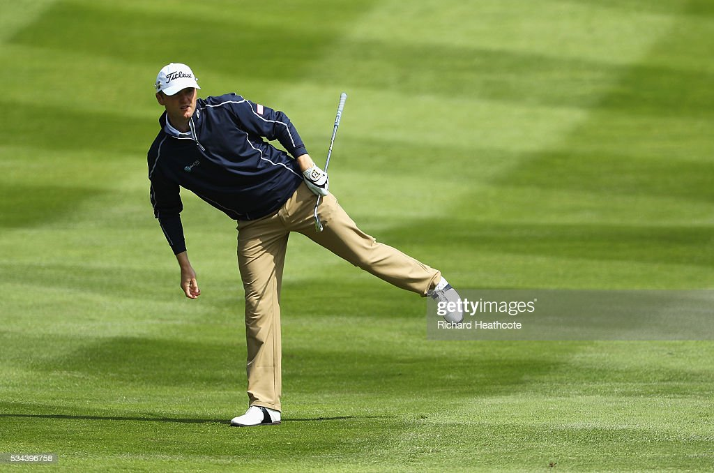 <a gi-track='captionPersonalityLinkClicked' href=/galleries/search?phrase=Michael+Hoey&family=editorial&specificpeople=600560 ng-click='$event.stopPropagation()'>Michael Hoey</a> of Northern Ireland watches his 2nd shot on the 4th hole during day one of the BMW PGA Championship at Wentworth on May 26, 2016 in Virginia Water, England.