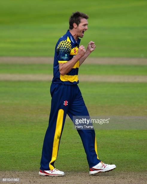 Michael Hogan of Glamorgan celebrates the wicket of Dean Elgar of Somerset during the NatWest T20 Blast match between Somerset and Glamorgan at The...