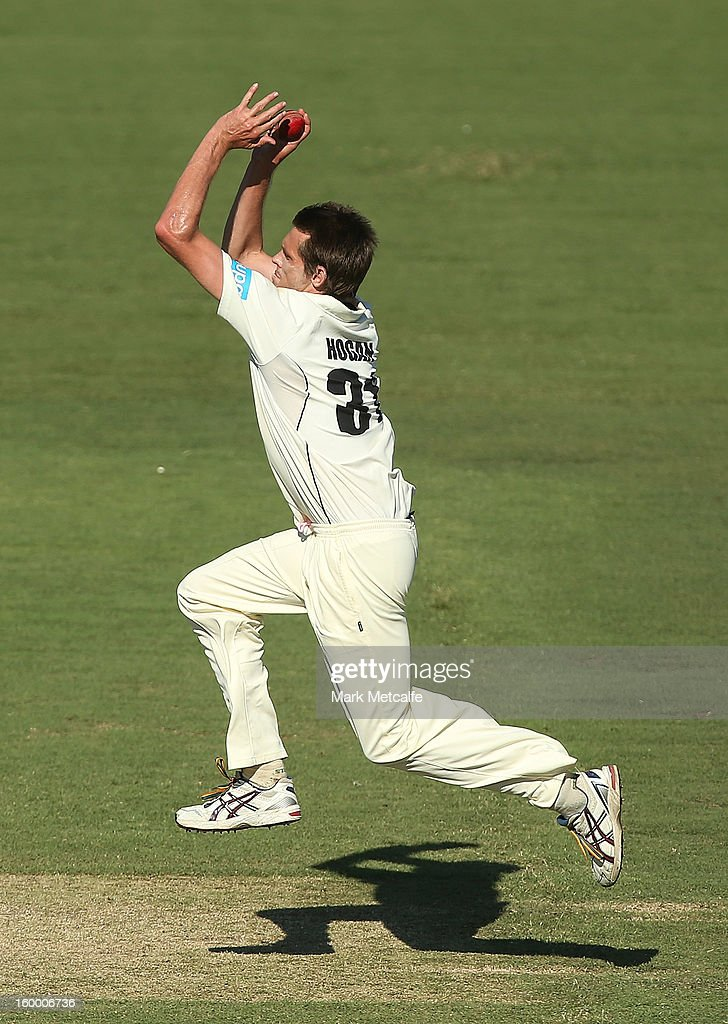 Michael Hogan of the Warriors bowls during day two of the Sheffield Shield match between the New South Wales Blues and the Western Australia Warriors at Blacktown International Sportspark on January 25, 2013 in Sydney, Australia.