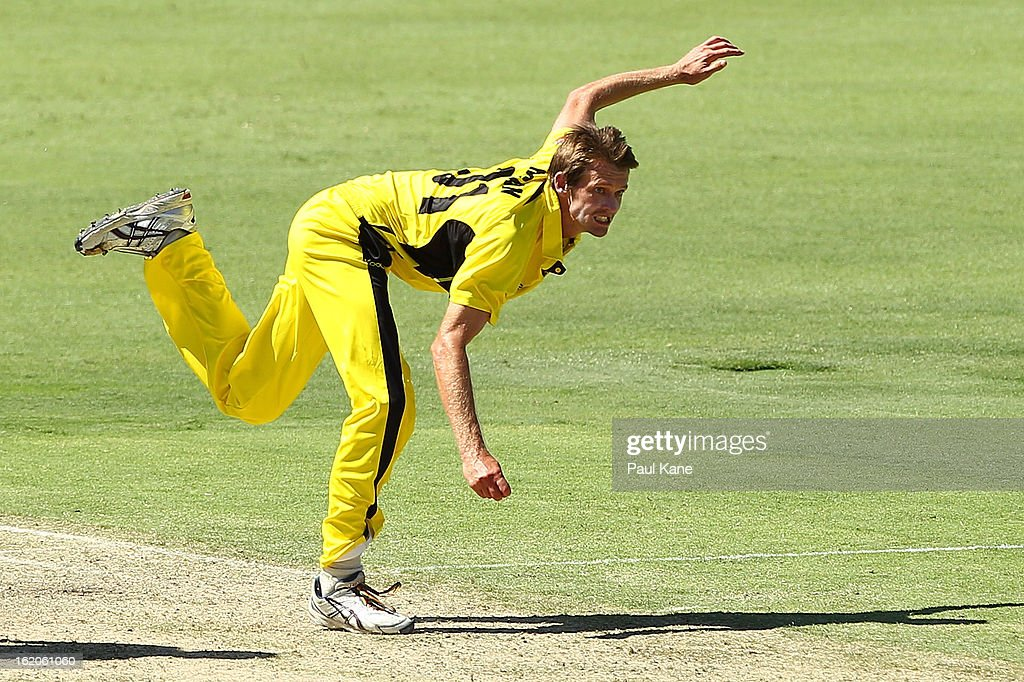 Michael Hogan of the Warriors bowls during the Ryobi One Day Cup match between the Western Australia Warriors and the Tasmanian Tigers at the WACA on February 19, 2013 in Perth, Australia.