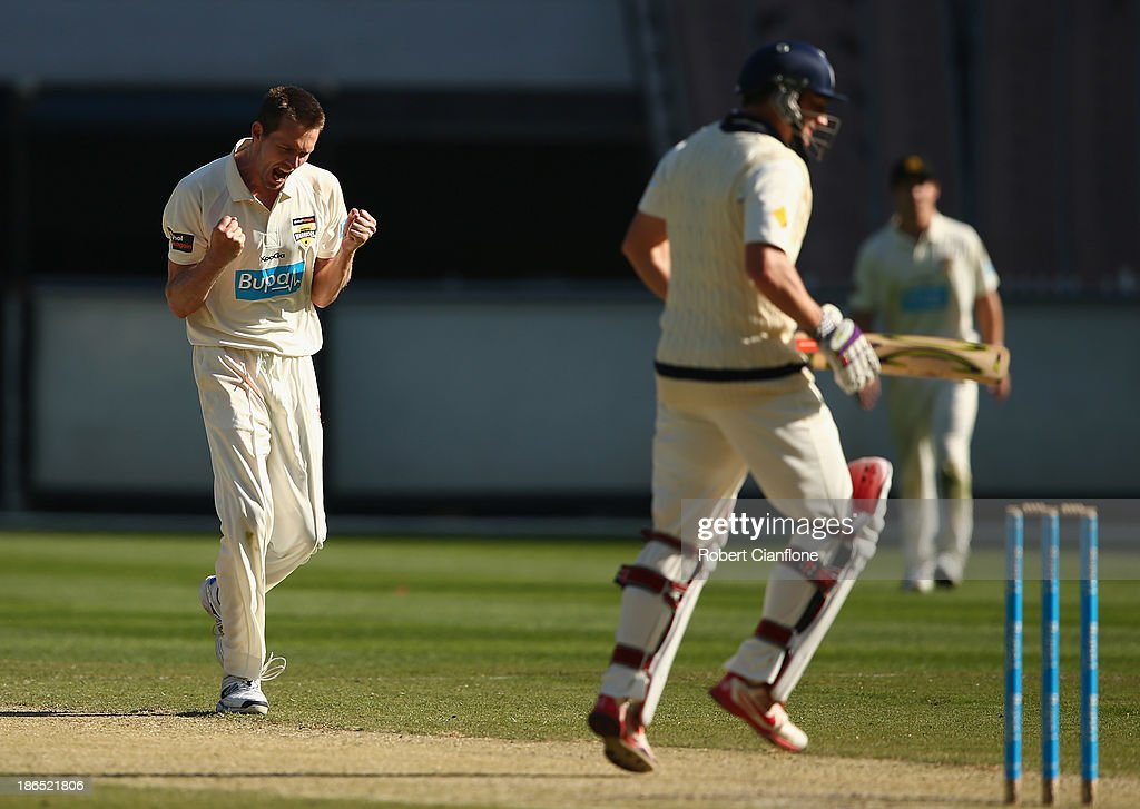 Michael Hogan of the Warriors takes the wicket of <a gi-track='captionPersonalityLinkClicked' href=/galleries/search?phrase=David+Hussey&family=editorial&specificpeople=193810 ng-click='$event.stopPropagation()'>David Hussey</a> of the Bushrangers during day three of the Sheffield Shield match between the Victoria Bushrangers and the Western Australia Warriors at Melbourne Cricket Ground on November 1, 2013 in Melbourne, Australia.