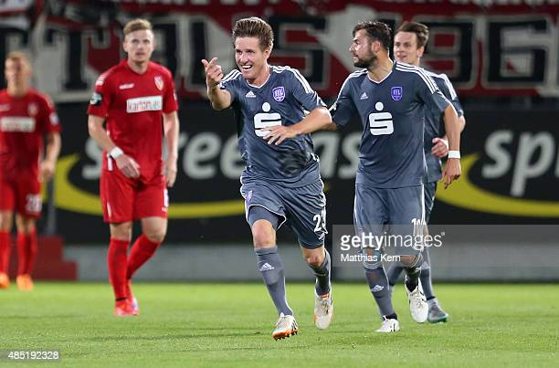 Michael Hohnstedt of Osnabrueck jubilates after scoring the second goal during the third league match between FC Energie Cottbus and VFL Osnabrueck...
