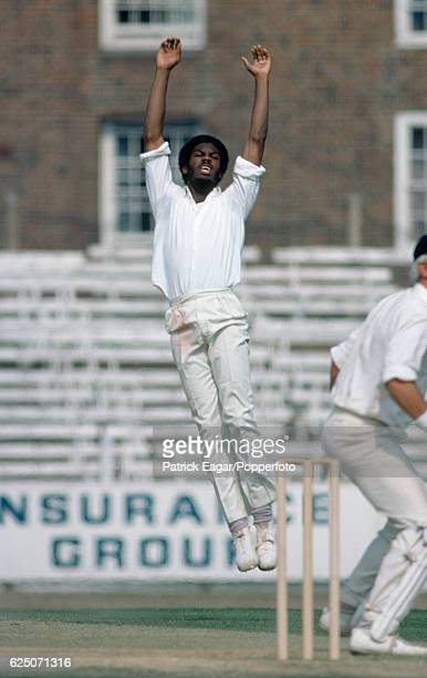 Michael Holding of West Indies celebrates the wicket of England batsman David Steele during the 5th Test match between England and West Indies at The...