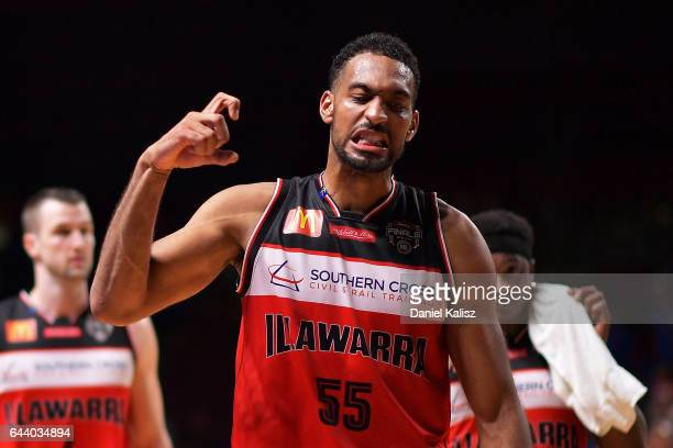 Michael Holyfield of the Illawarra Hawks reacts as he walks from the court after the game three of the NBL Semi Final series between the Adelaide...