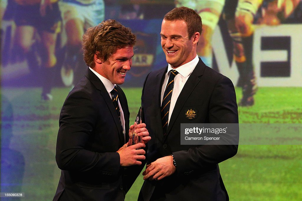 Michael Hooper accepts his award from Pat McCabe for 'Rookie of the Year' during the John Eales Medal at the Sydney Convention and Exhibition Centre on November 1, 2012 in Sydney, Australia.