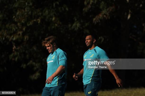 Michael Hooper and Kurtley Beale look on during a Wallabies hills training session on July 22 2017 in Sydney Australia