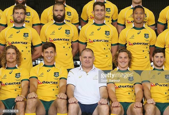 Michael Hooper captain of the Wallabies and Wallabies coach Ewen McKenzie pose for the team photograph during an Australian Wallabies captain's run...