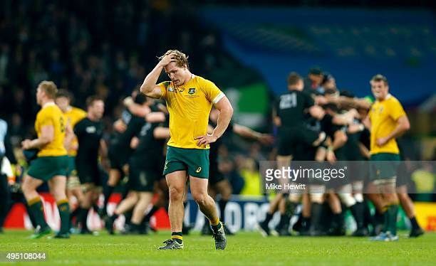 Michael Hooper of Australia is dejected following the final whistle during the 2015 Rugby World Cup Final match between New Zealand and Australia at...