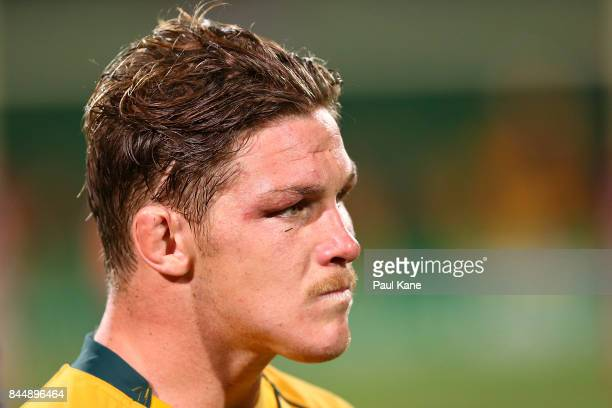 Michael Hooper of Australia looks on after The Rugby Championship match between the Australian Wallabies and the South Africa Springboks at nib...