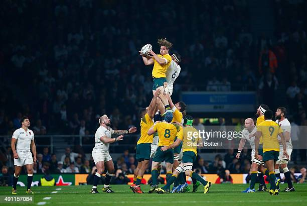 Michael Hooper of Australia wins the line ball during the 2015 Rugby World Cup Pool A match between England and Australia at Twickenham Stadium on...